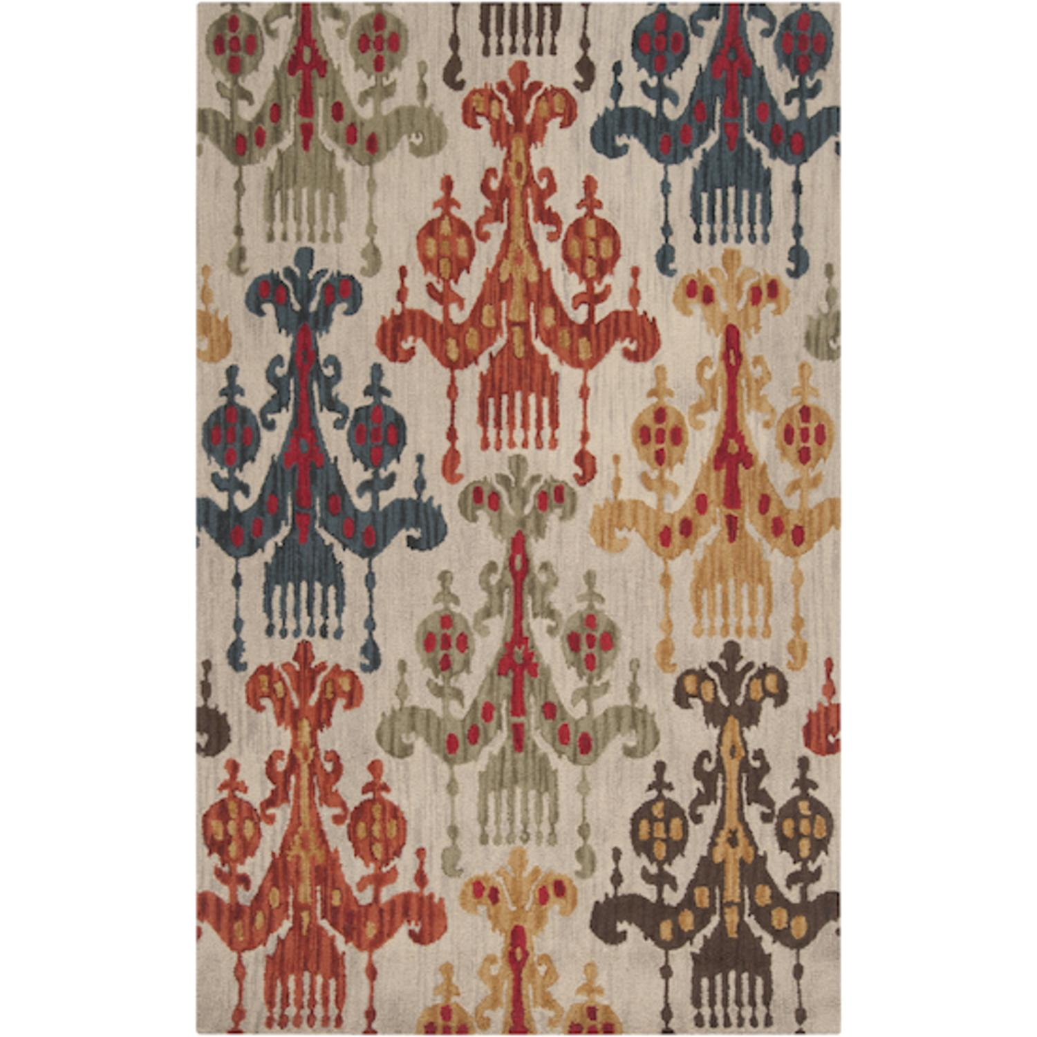 2' x 3' Lhasa Aglow Safari Tan and Multi-Colored Wool Area Throw Rug