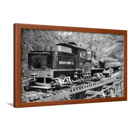 Benson Timber Company Train Hauling Logs - Clatskanie, OR Framed Print Wall Art By Lantern (Vintage Frame Company)