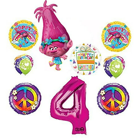 TROLLS 4th Birthday Party Supplies Poppy Peace Balloon Bouquet Decorations (Peace Decorations)