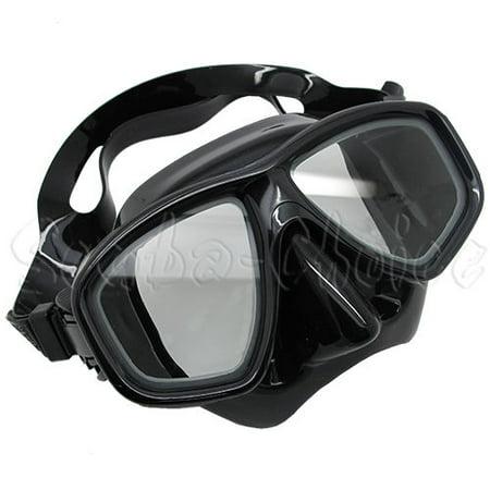 Scuba Black Dive Mask NEARSIGHTED Prescription RX Optical Lenses (-10.0)