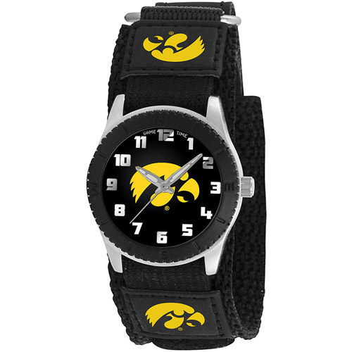 Game Time NCAA Kids' University of Iowa Hawkeyes Rookie Series Watch, Black Velcro Strap