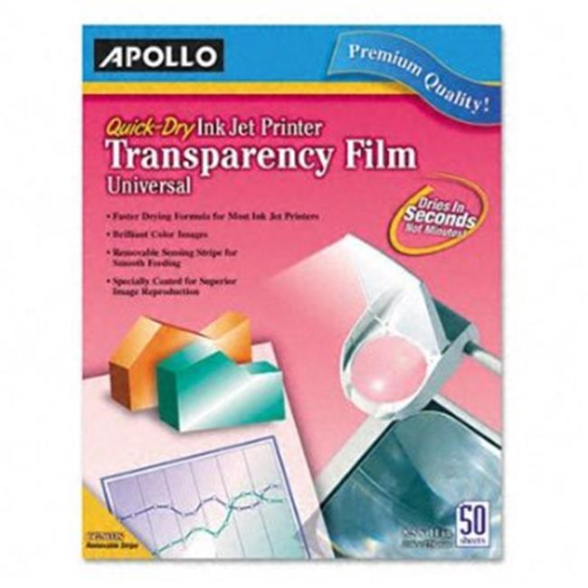 Apollo.  CG7033S Quick-Dry Transparency Film, Removable Sensing Stripe, Letter, Clear, 50/Box