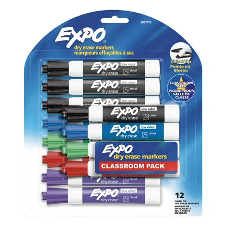 Expo® Low Odor Dry Erase Markers, Chisel Tip, Assorted Colors, 12 Count