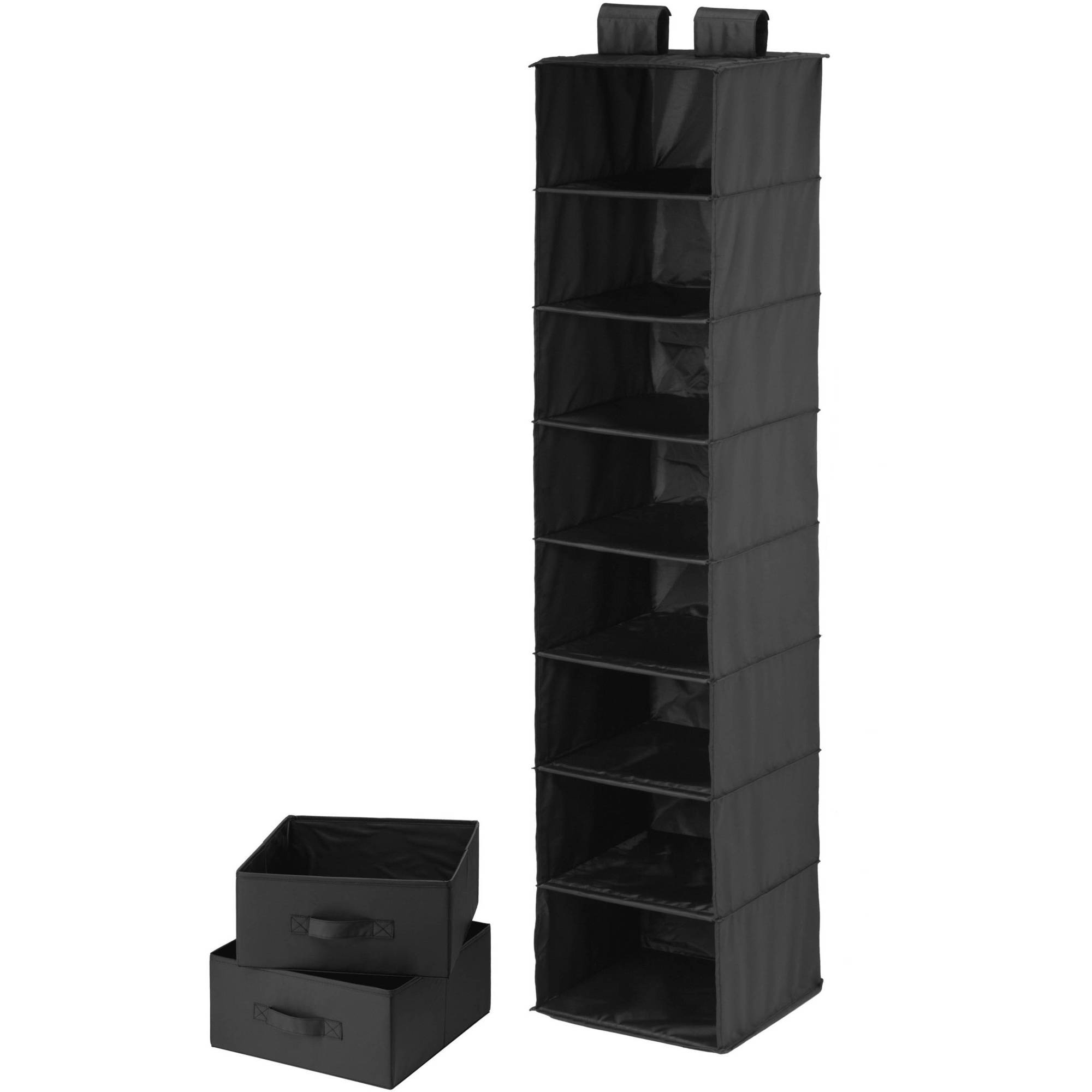 Honey-Can-Do 8-Shelf Organizer with 2 Drawers, Black Polyester by Honey Can Do