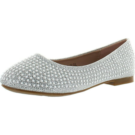 De Blossom Girl Harper-II-31 Sparkle Pearl Closed Toe Slip on Dress Pumps Flat Shoes