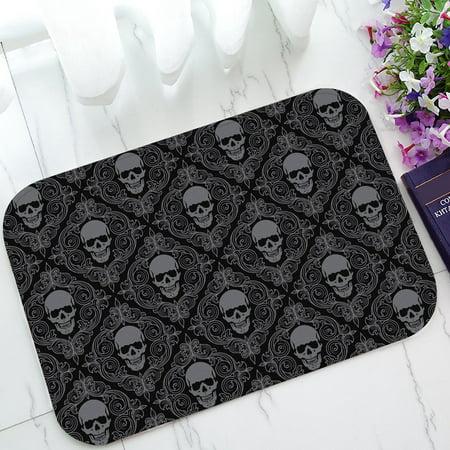 GCKG Dark Balck World Design Skull With Lacy Pattern Non-Slip Doormat Indoor/Outdoor/Bathroom Doormat 23.6 x 15.7 Inches