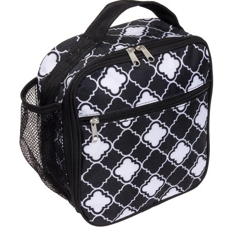 Silver Lilly Womens Insulated Cooler Lunch Box Tote Bag (Black White  Quatrefoil) - Walmart.com 50dd2116f