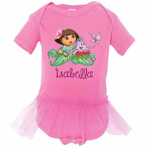 Personalized Dora the Explorer Butterfly Raspberry Tutu Newborn Girls' Bodysuit