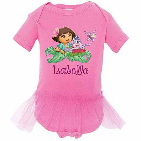 Butterfly Bodysuit (Personalized Dora the Explorer Butterfly Raspberry Tutu Newborn Girls' Bodysuit )