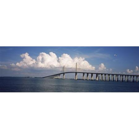 Suspension bridge across the bay Sunshine Skyway Bridge Tampa Bay Gulf of Mexico Florida USA Poster