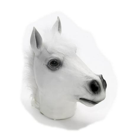 Latex Animal Costume Mask Adult: White Horse One Size