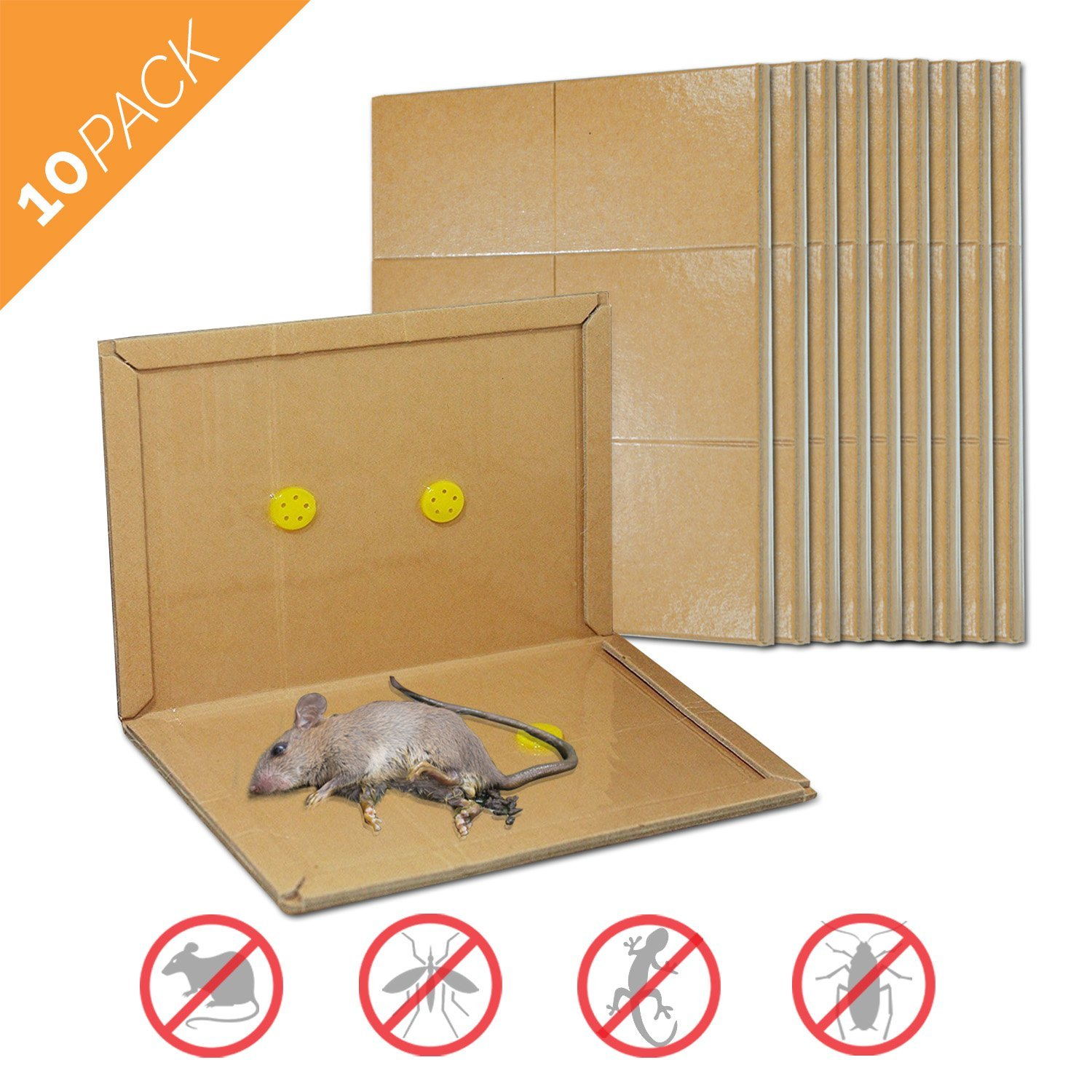Mouse Glue Trap, Rat Glue Traps, Strongly Adhesive & Extra Large, Best Peanut Butter Scented Mouse Traps Glue Board for Mice & Rodent &Pests & Bug & Ant & Spider - 10 Pack