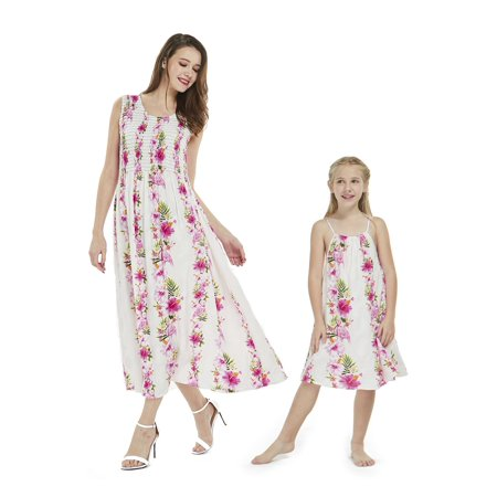 Mother & Daughter Matching Hawaii Luau Maxi Dress Girl Round Neck in Pink Hibiscus Vine 8](Girls Vine)
