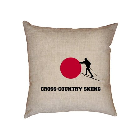 Classic Cross Country Ski - Japan Olympic - Cross-Country Skiing - Flag - Silhouette Decorative Linen Throw Cushion Pillow Case with Insert