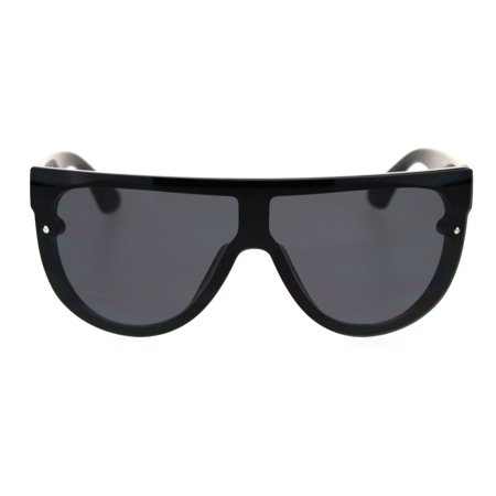 Trendy Cyber Robotic Flat Top 80s Mirror Shield Plastic Sunglasses All (Electric Sunglasses Cyber Monday)
