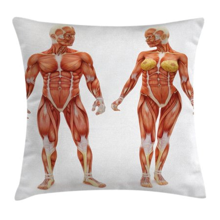Human Anatomy Throw Pillow Cushion Cover, Male and Female Bodies with Inner Mass Build Display Muscle System Graphic Print, Decorative Square Accent Pillow Case, 18 X 18 Inches, Coral, by