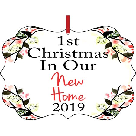 1st Christmas in Our New Home 2019 - 1st House New Home First Elegant Semigloss Aluminum Christmas Ornament Tree Decoration - Unique Modern Novelty Tree Décor Favors ()