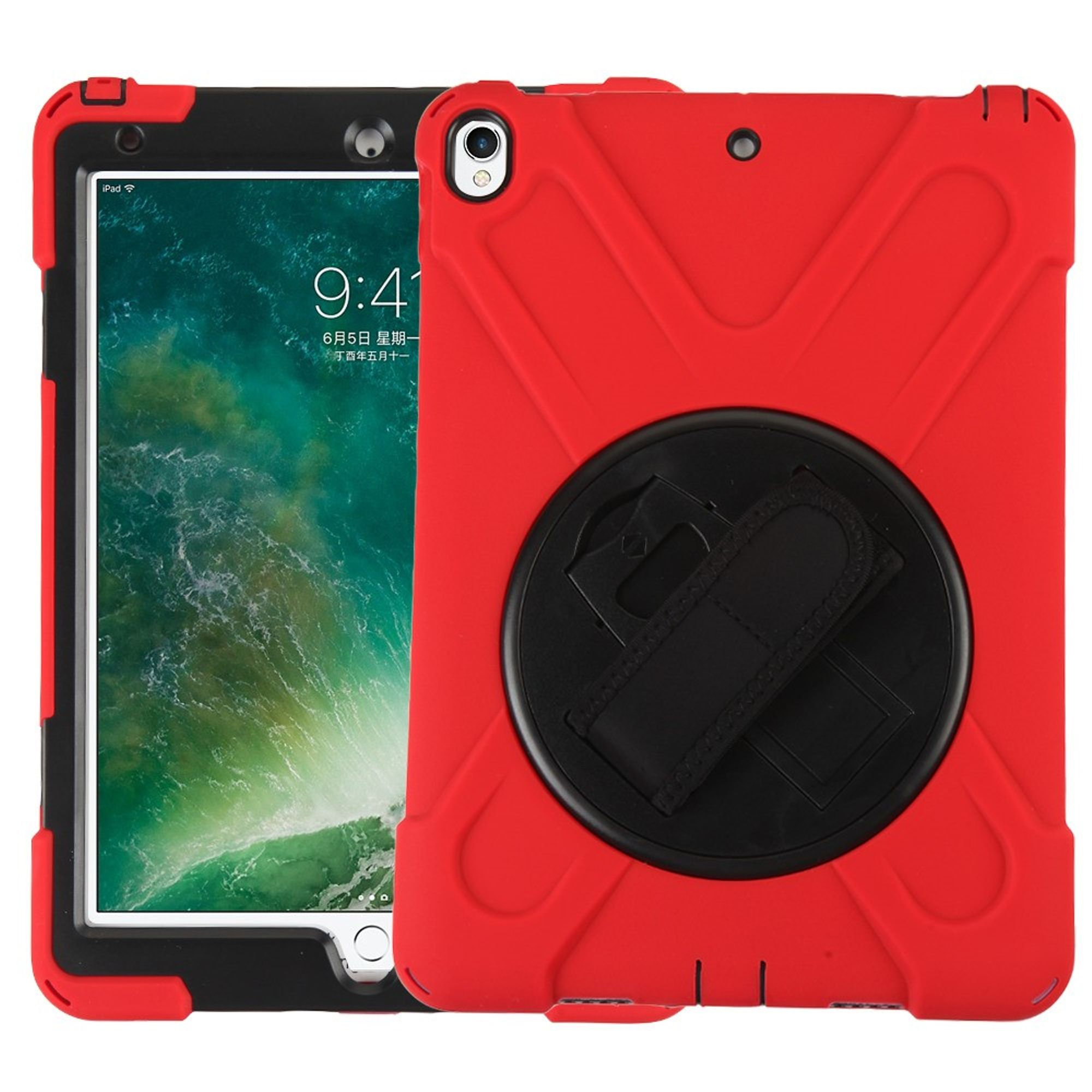 """MyBat Rotatable Stand Hard Dual Layer Plastic TPU Cover Case w/stand For Apple iPad Pro 10.5"""" - Red/Black"""