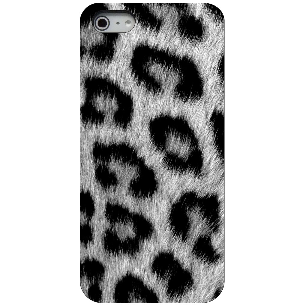 CUSTOM Black Hard Plastic Snap-On Case for Apple iPhone 5 / 5S / SE - Black White Snow Leopard Fur