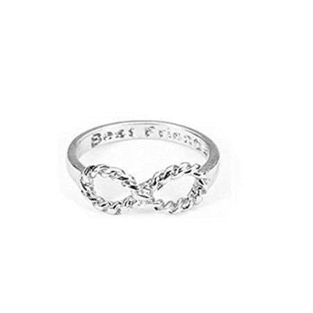 XY Fancy Plated Bowknot Infinity Finger Ring with `Best Friends` Inscribed- Silver