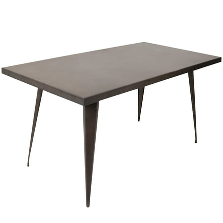 "Austin 59"" Industrial Dining Table Antique Metal Finish - LumiSource"