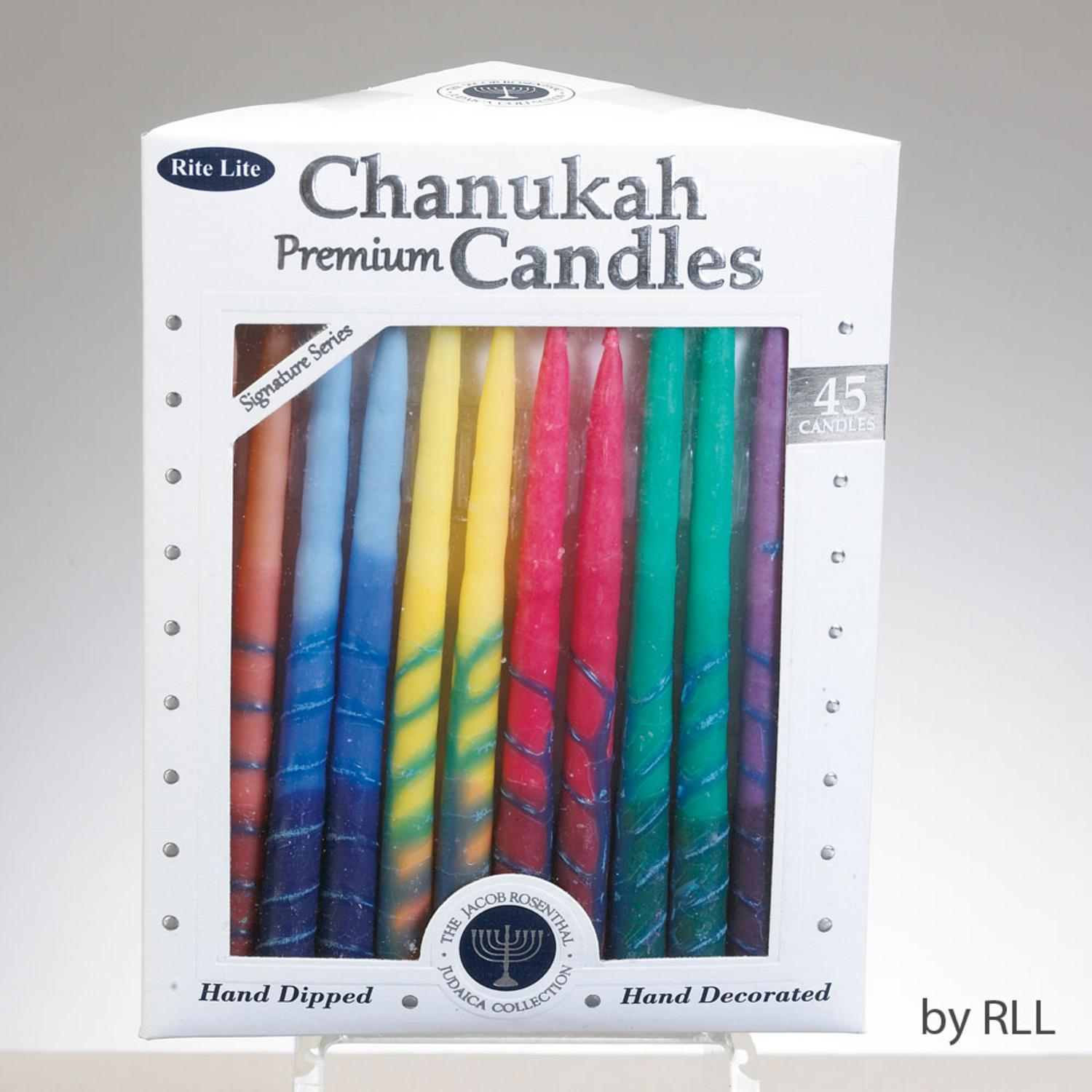 """Club Pack of 45 Signature Series Multi-Colored Chanukah Premium Hand Dipped Candles 5"""""""