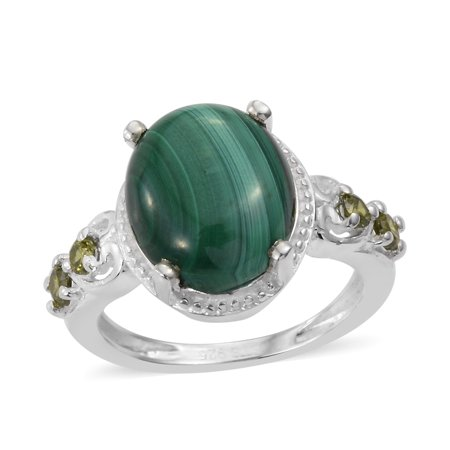 925 Sterling Silver Malachite Peridot Cubic Zirconia CZ Statement Ring for Women Girls Jewelry Gift