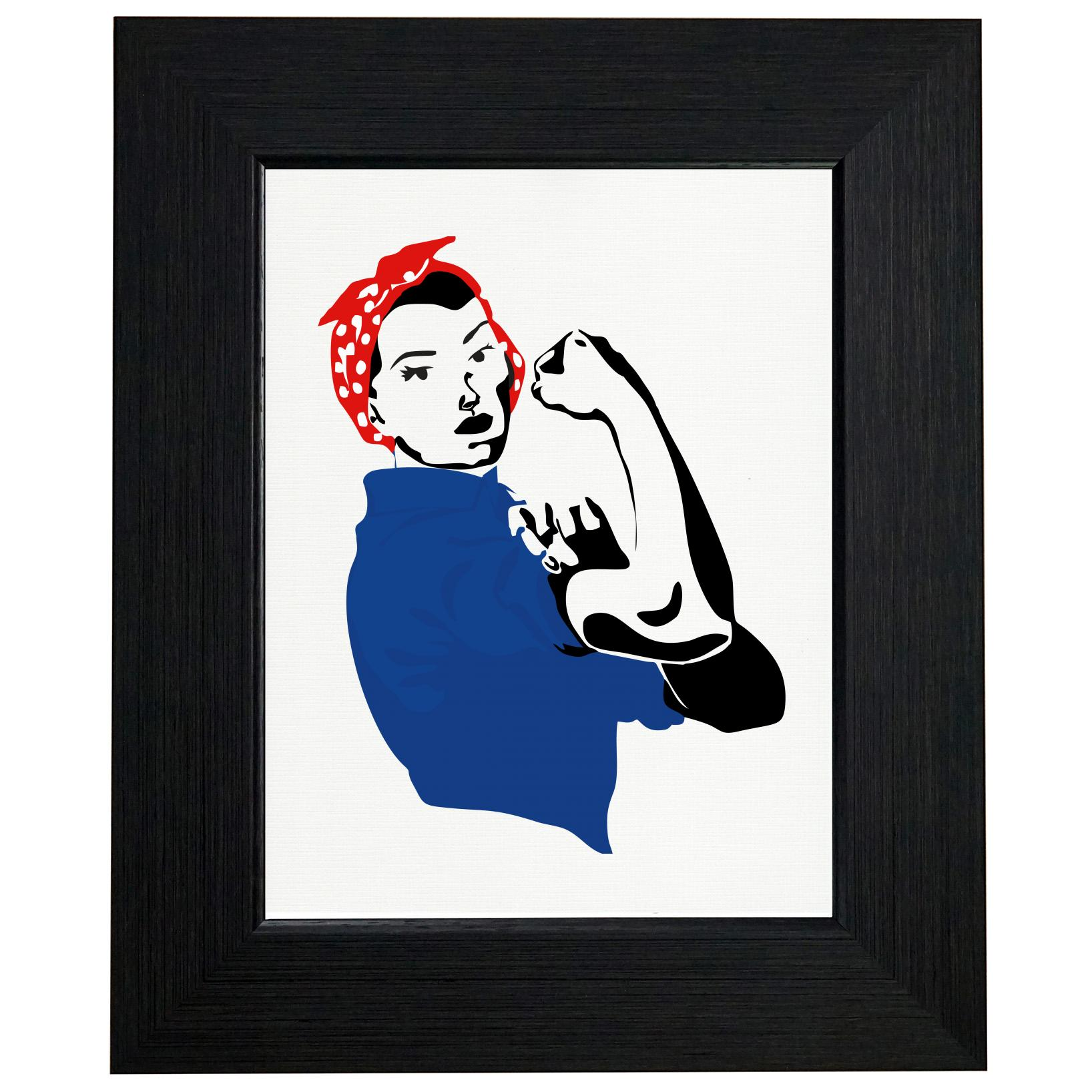 Rosie The Riveter - Girl Power - Throwback Graphic Framed Print Poster Wall or Desk Mount Options