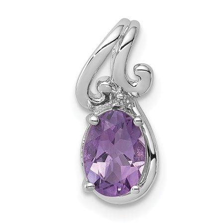 925 Sterling Silver Diamond Purple Amethyst Oval Pendant Charm Necklace Gemstone Fine Jewelry Gifts For Women For Her - image 6 of 6