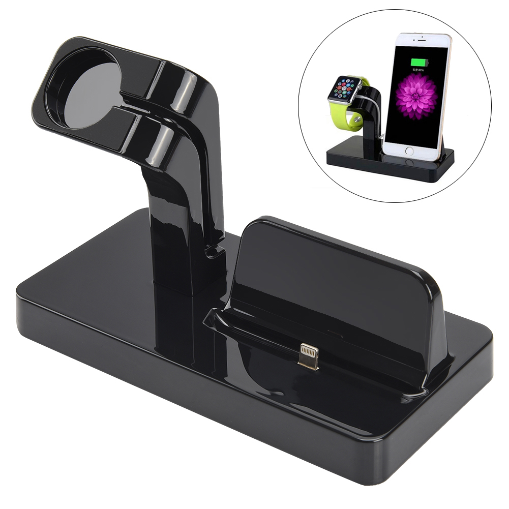 ALLCACA 2-in-1 Charging Station Multi-functional Charging Cradle Docking Station for Smart Phone and Watch, Black