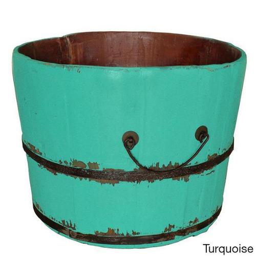 Wooden Rice Bucket Turquoise