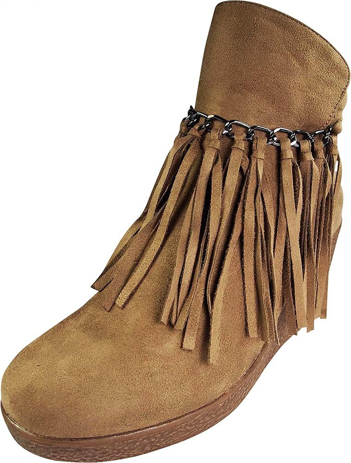 Wedge Fringe Ankle Bootie Taupe