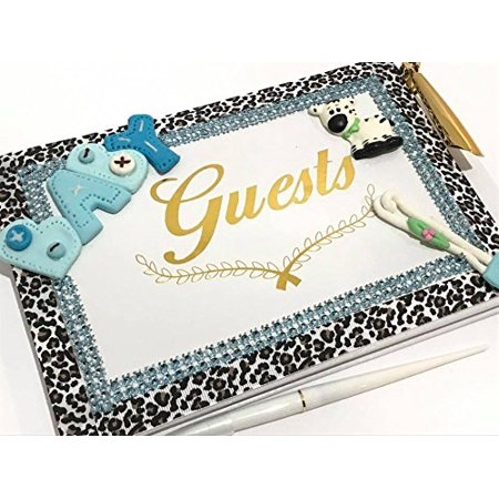 Jungle Baby Shower Theme Guest Book with Baby Boy Zebra Gift - Baby Jungle Baby Shower Theme
