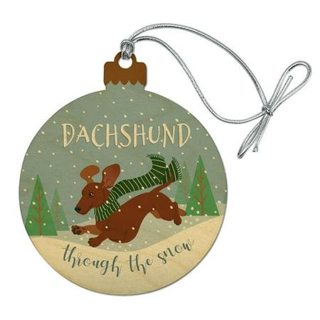Dachshund Dashing Through the Snow Winter Christmas Wood Christmas Tree Holiday Ornament ()