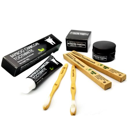- Activated Charcoal Powder Bamboo Toothpaste & Toothbrushes Teeth Whitening Kit