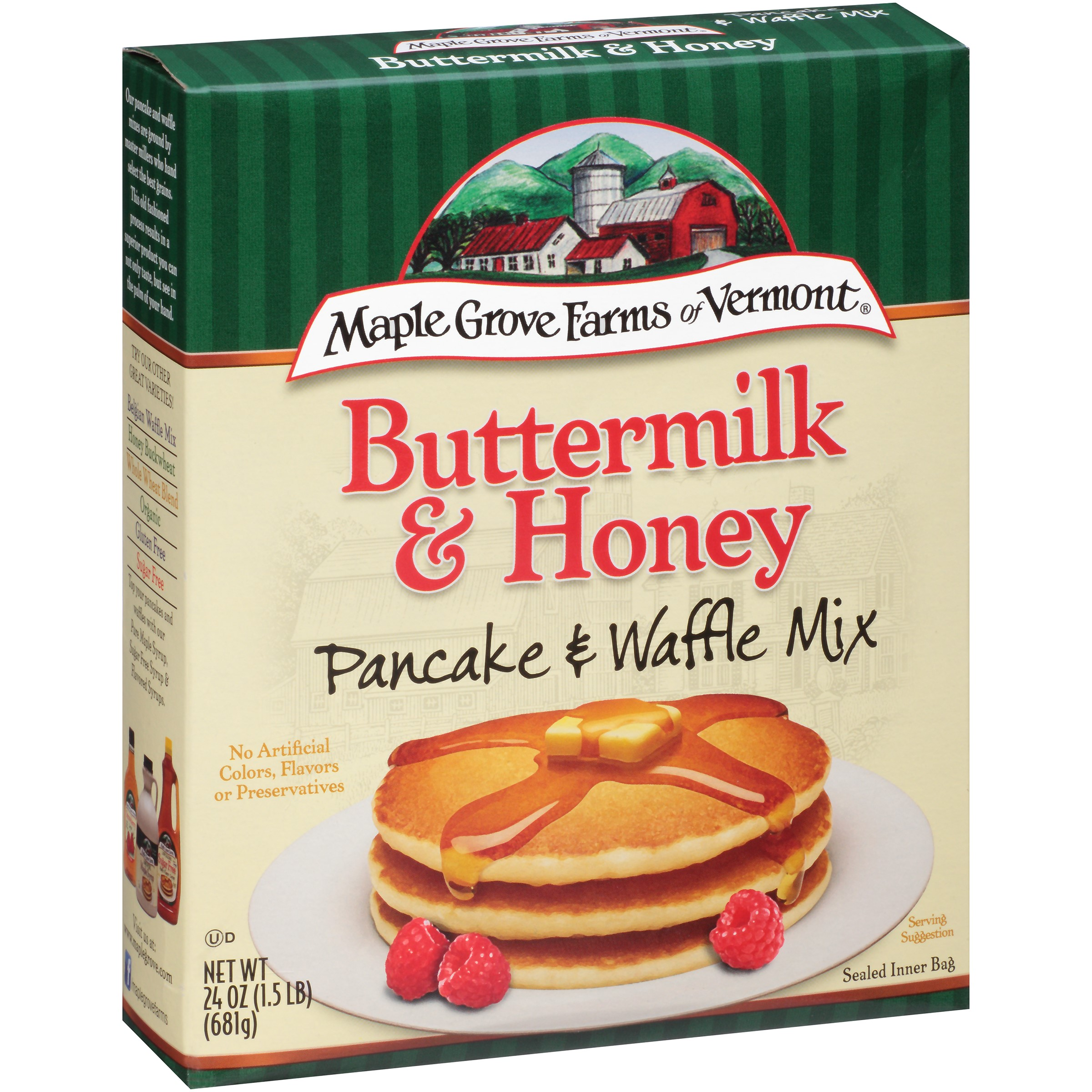 Maple Grove Farms of Vermont Buttermilk & Honey Pancake & Waffle Mix 24 oz. Box by B&G