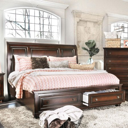 Transitional Wood Queen Storage bed in Brown Northville by Furniture of America ()