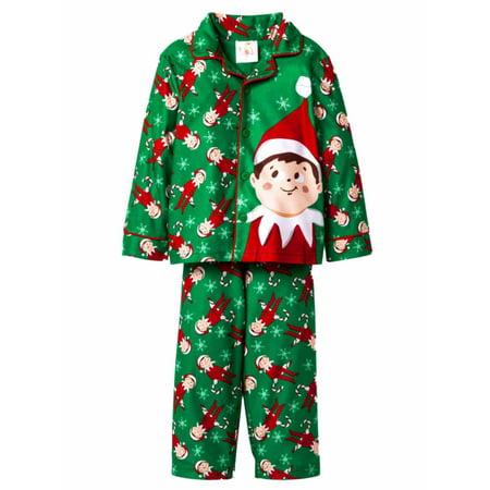 elf of shelf toddler boys green flannel christmas pajamas holiday sleep set - Elf Christmas Pajamas