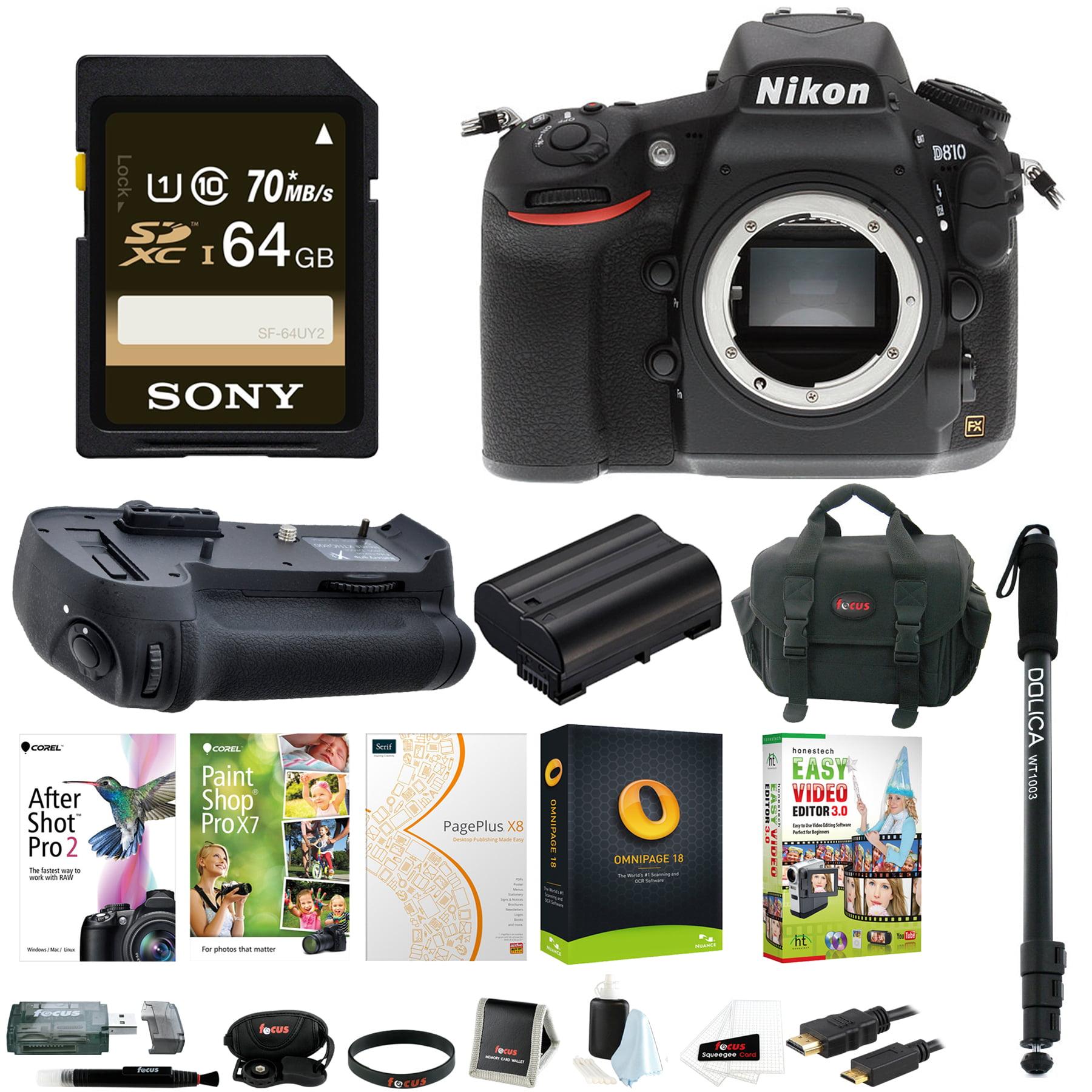 Nikon D810 DSLR Camera w/ Battery Grip & 64 GB SD Card Bundle (Body Only)