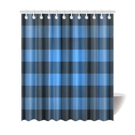 MKHERT Blue Buffalo Check Lumberjack Plaid Polyester Fabric Bathroom Shower Curtain 66x72 Inch