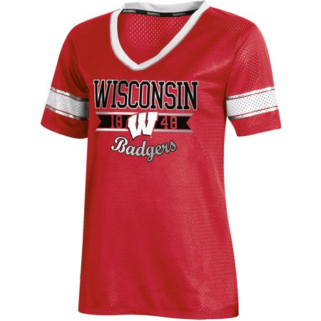 Women's Russell Athletic Red Wisconsin Badgers Fashion Jersey V-Neck T-Shirt Wisconsin Badgers Player