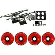 LONGBOARD Trucks/Wheels/Bearings SILVER 7.0 + BIGFOOT 75MM INVADERS RED