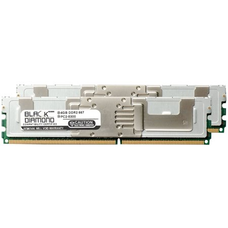 8GB 2X4GB Memory RAM for HP ProLiant Series ML370 G5 High Performance, ML370 G5 Performance, BL460c G1, BL460c-cg, DL160 G5 Special Server 240pin PC2-5300 667MHz DDR2 FBDIMM Black Diamond Memory Mod