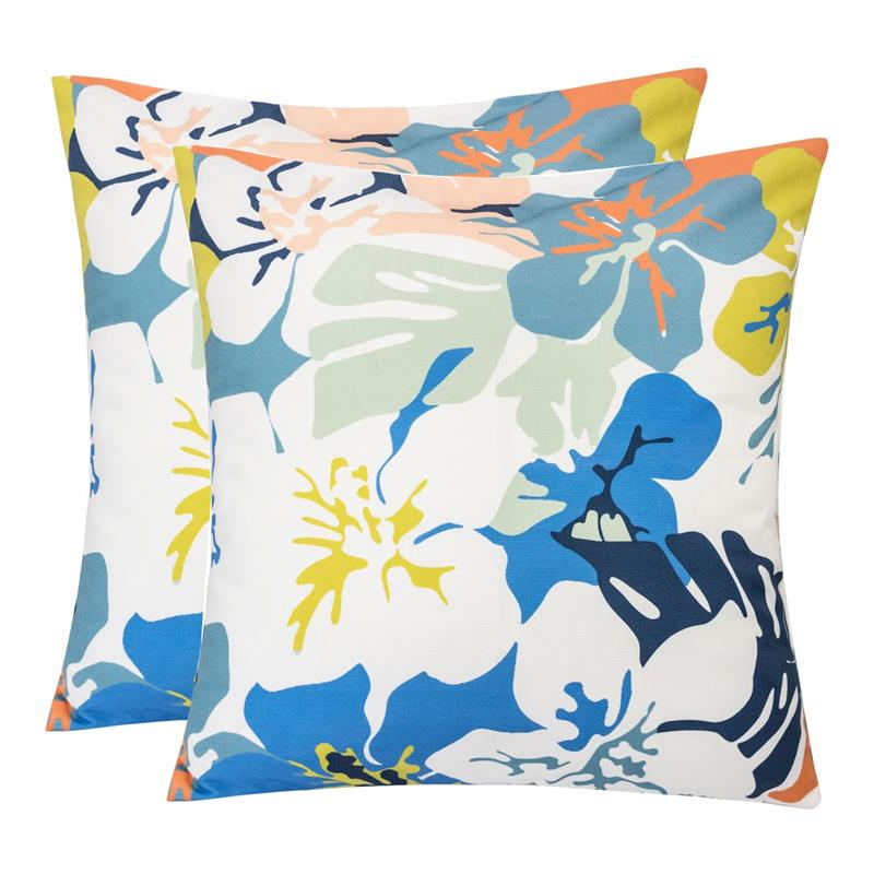 2 Square Pillows Weather Resistant RSH D/écor Indoor Outdoor Blue Prints Copeland Caribe Blue Teal Yellow Floral, 17x17 Choose Color /& Size
