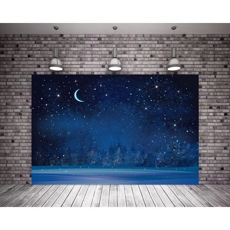 GreenDecor Polyster 7X5ft Winter Photography Backdrop Royal Blue Night Scenery Shiny Stars Moon Christmas Background Child Backdrops
