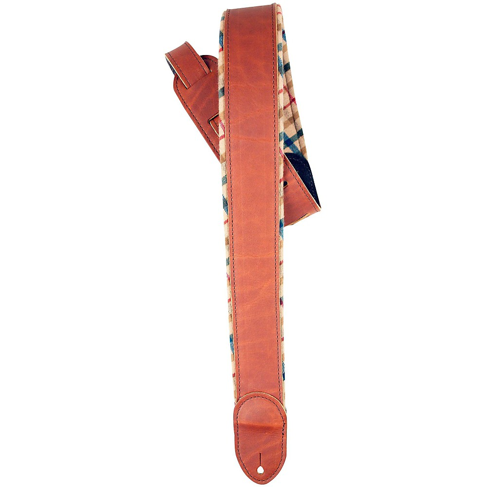 "LM Products 2"" Brown Ballglove Flannel Reversible Guitar Strap Tan by LM Products"