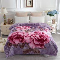 Soft Warm Plush Reversible Bed Blanket Light Purple Flower Printed Blanket 76 x 86 inches