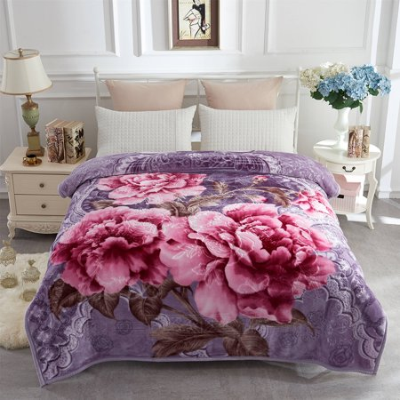 Soft Warm Plush Reversible Bed Blanket Light Purple Flower Printed Blanket 76 x 86 inches ()