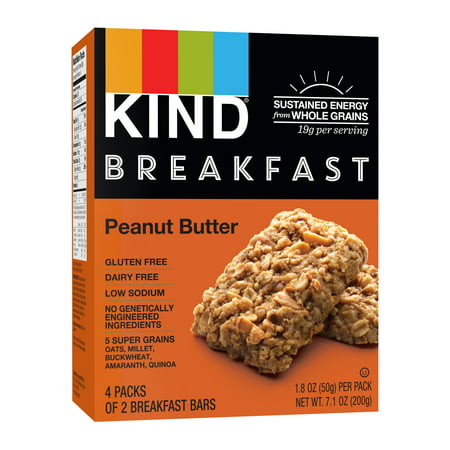 - (8 Pack) KIND Breakfast Bars 4 ct, Peanut Butter Bars, Gluten Free