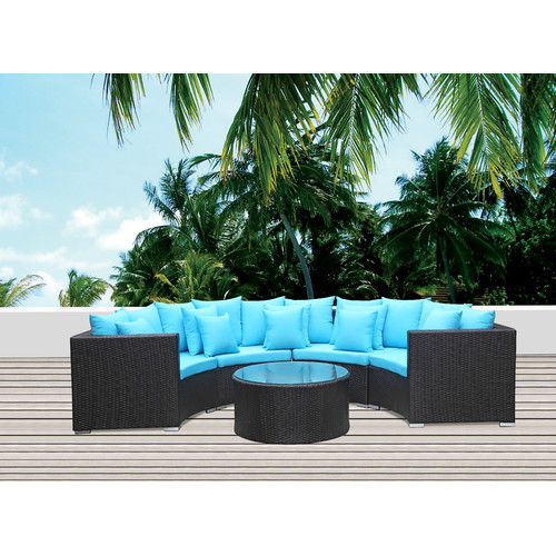Fine Mod Imports Roundano 5 Piece Sectional Set with Cushions